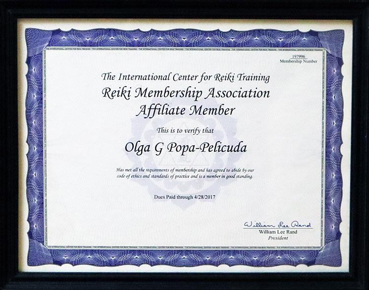 Reiki Association Member Certificate